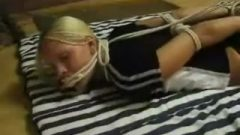 Blonde Hogtied And Tied By Fireplace
