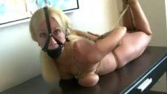 Blonde Hogtied On Table