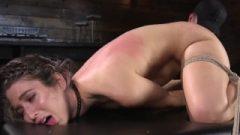 Small Brunette Serena Blair Tied In Rope Bondage