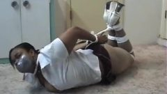 Chocolate School Girl Hogtied