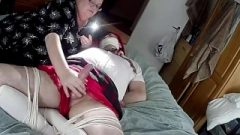 Guy Dressed As School-Girl Tied Up And Gagged With Post Climax Torture