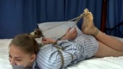 Seductive Nubile Hogtied And Balgagged