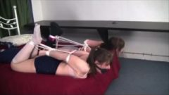 Two Girlfriends Roped Up And Choked On Bed In Long Socks