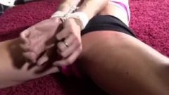 Female Whith Long Socks Slapped And Tied Up