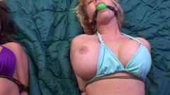 2 Milfs Swimsuit Bound/gagged/stripped.