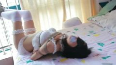 Asian White Panties And Stockings Rope Bondage On Bed