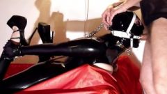 Shiny Chocolate Latex Whore Ring Gagged Hogtied Unmercifully Skullfucked- Teaser